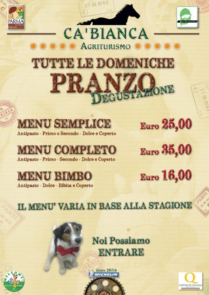 Tortelli: alcune varianti di un tesoro di Parma e provincia, il menù del ristorante